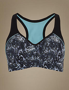 Breathable High Impact Underwired Padded Sports Bra A-DD, BLACK MIX, catlanding