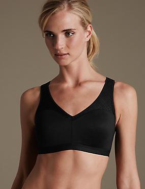 High Impact Sheer Geometric Mesh Non-Wired sports bra B-E, BLACK, catlanding