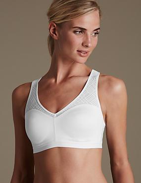 High Impact Sheer Geometric Mesh Non-Wired sports bra B-E, WHITE, catlanding