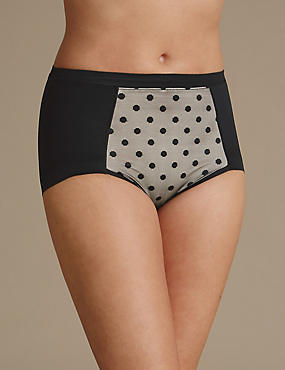 Firm Control Spotted No VPL High Leg Knickers, BLACK MIX, catlanding