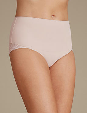 Smooth Lines High Leg Shaping Knicker, ALMOND, catlanding