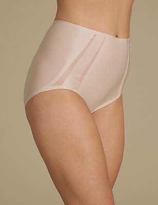 Light Control Sheer Shaping Mesh High Leg Knickers, ALMOND, catlanding
