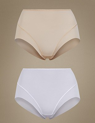 2 Pack Light Control No VPL Full Brief Knickers, ALMOND MIX, catlanding