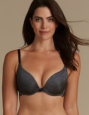 Decorine Padded Push-Up Plunge Bra AA-DD, BLACK/GREY, catlanding