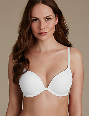 2 Cup Sizes Bigger Smoothing Underwired Push-up T-Shirt Bra AA-D, WHITE, catlanding