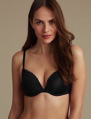 2 Pack Isabella Lace Trim Padded Push-Up T-Shirt Bras AA-E, BLACK MIX, catlanding