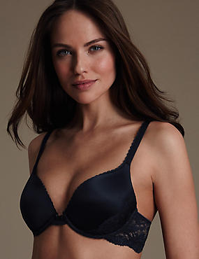 Perfect Fit Memory Foam Padded Push-Up Bra AA-E, INDIGO MIX, catlanding