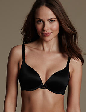 Perfect Fit Memory Foam Padded Push-Up Bra AA-E, BLACK, catlanding