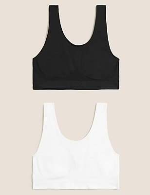 2 Pack Non-Wired Full Cup Seamfree Crop Tops, BLACK/WHITE, catlanding