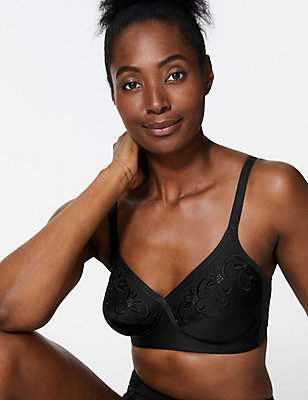 Floral Embroidered Crossover Non-Wired Full Cup Bra A-E, BLACK, catlanding
