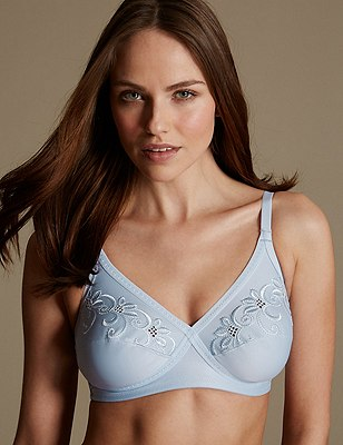 Floral Embroidered Crossover Non-Wired Full Cup Bra A-E, LIGHT BLUE, catlanding