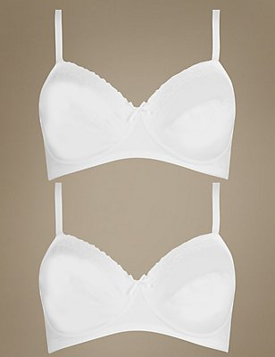 2 Pack Lace Trim Non-Padded Full Cup Bra A-DD, WHITE/WHITE, catlanding