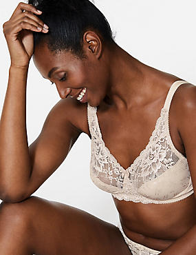 Floral Jacquard Lace Non-Wired Full Cup Bra , ALMOND, catlanding