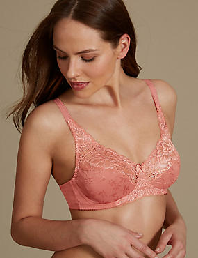 Floral Jacquard Lace Non-Wired Full Cup Bra , BURNT SIENNA, catlanding