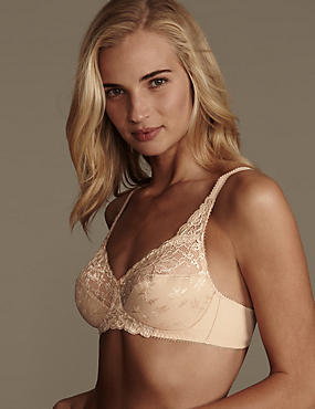 Floral Jacquard Lace Non-Wired Full Cup Bra A-DD
