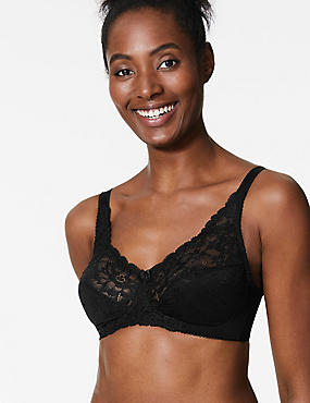 Floral Jacquard Lace Non-Wired Full Cup Bra , BLACK, catlanding