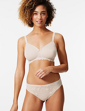 Smoothing Lace Wing Non-Wired Full Cup Bra A-E, ALMOND, catlanding