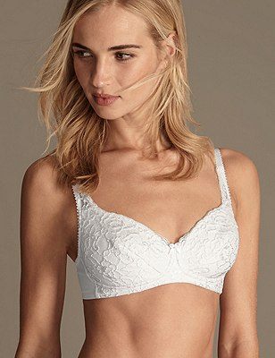 All-Over Fleur Lace Non-Wired Padded Full Cup Bra AA-DD, WHITE, catlanding