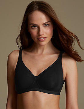 Cotton Rich Jacquard Trim Smoothing Non-Wired Full Cup Bra A-DD , BLACK, catlanding