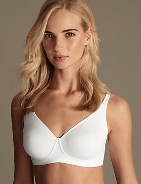 Cotton Rich Jacquard Trim Smoothing Non-Wired Full Cup Bra A-DD , WHITE, catlanding