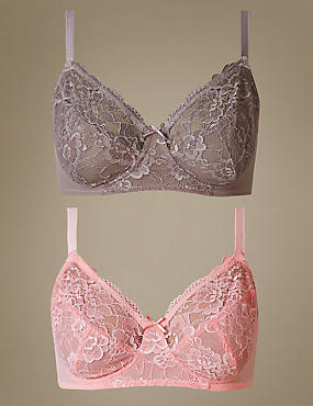 2 Pack Isabella Lace Full Cup Bra A-DD, PRALINE, catlanding