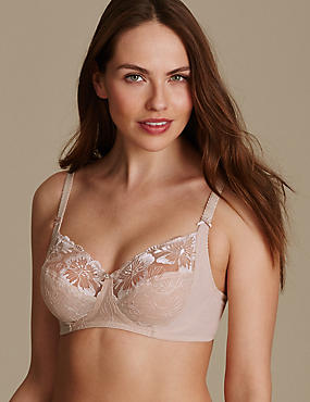 Embroidered Non-Padded Full Cup Bra B-E, ALMOND, catlanding