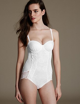 Light Tummy Control Floral Lace B-DD Body, WHITE, catlanding