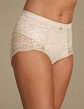 Firm Control Floral Lace Full Briefs, ALMOND, catlanding