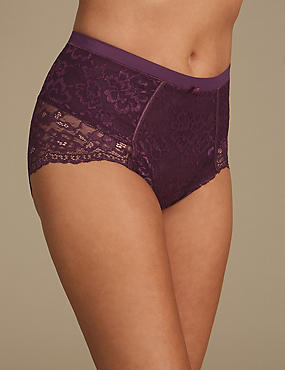 Firm Control Floral Lace Full Briefs, BLACKCURRANT, catlanding