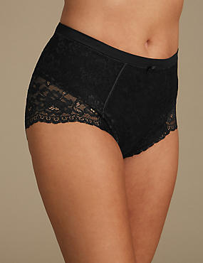 Firm Control Floral Lace Full Briefs, BLACK MIX, catlanding