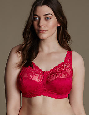 Total Support Floral Jacquard Lace Full Cup Bra B-G, FUCHSIA, catlanding