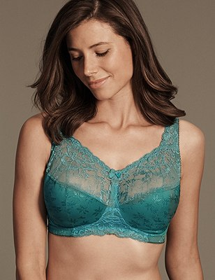 Total Support Floral Jacquard Lace Full Cup Bra B-G, SEA GREEN, catlanding
