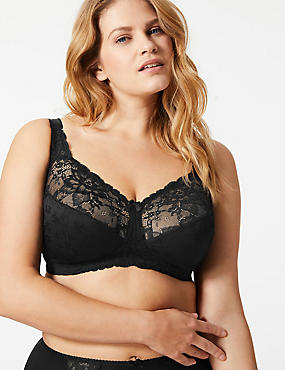 Total Support Floral Jacquard Lace Full Cup Bra B-G, BLACK, catlanding