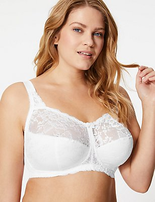 Total Support Floral Jacquard Lace Full Cup Bra B-G, WHITE, catlanding