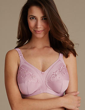 Total Support Embroidered Non-Wired Full Cup Bra D-K, SOFT PINK, catlanding