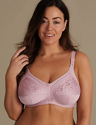 Total Support Non-Wired Embroidered Crossover Full Cup Bra B-G, SOFT PINK, catlanding