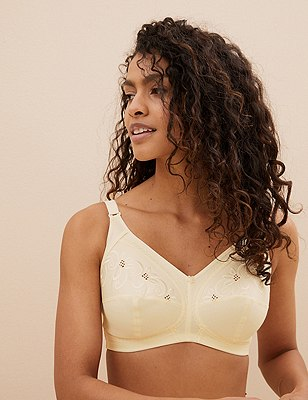 Total Support Non-Wired Floral Embroidered Crossover Full Cup Bra B-G, CREAM, catlanding