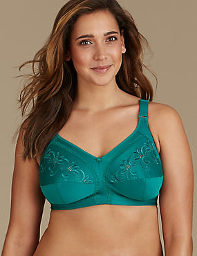 Total Support Non-Wired Embroidered Crossover Full Cup Bra B-G, PINE GREEN, catlanding