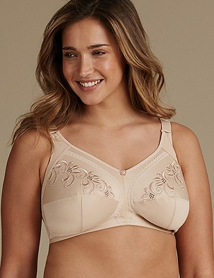 Total Support Non-Wired Floral Embroidered Crossover Full Cup Bra B-G, NATURAL, catlanding