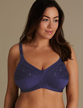 Total Support Non-Wired Embroidered Crossover Full Cup Bra B-G, INDIGO, catlanding