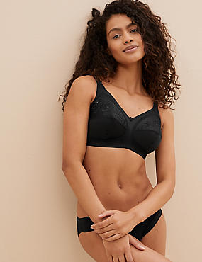 Total Support Non-Wired Embroidered Crossover Full Cup Bra B-G, BLACK, catlanding