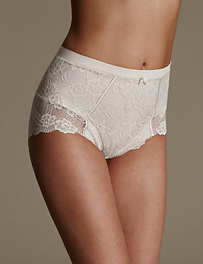 Firm Control Floral Lace Full Briefs , ALMOND, catlanding