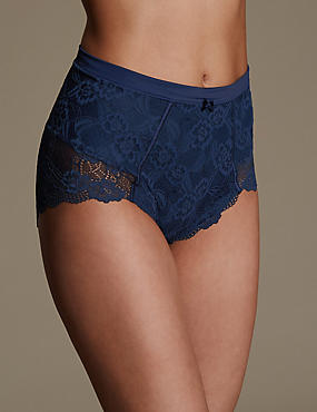Firm Control Floral Lace Full Briefs , MIDNIGHT NAVY, catlanding