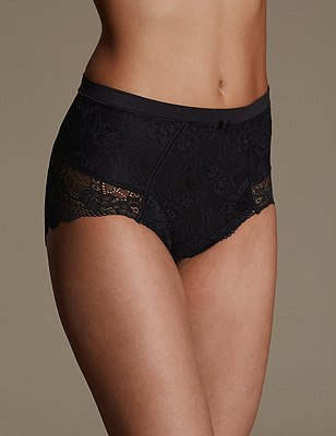 Firm Control Floral Lace Full Brief Knickers, BLACK MIX, catlanding