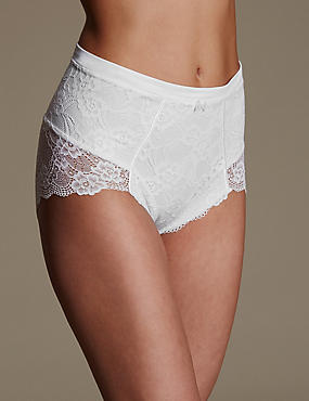 Firm Control Floral Lace Full Briefs , WHITE, catlanding