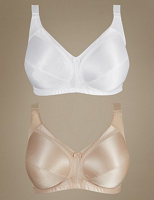 2 Pack Total Support Full Cup Bras B-G, WHITE MIX, catlanding