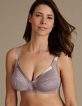 Total Support Striped Non-Wired Full Cup Bra B-G, PRALINE, catlanding