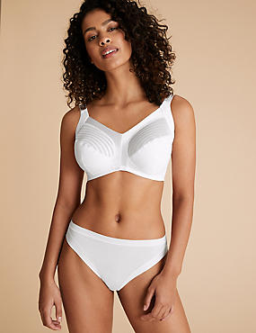 Total Support Striped Non-Wired Full Cup Bra B-G, WHITE, catlanding