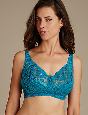 Total Support All-Over Fleur Lace Non-Wired Bra B-G, BRIGHT TURQUOISE, catlanding