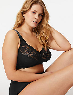 Total Support All-Over Fleur Lace Non-Wired Bra B-G, BLACK, catlanding